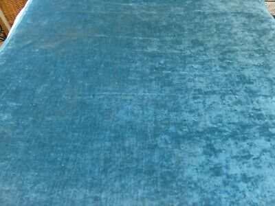 Teal Blue Heavy Cotton Velvet Velvety Texture Remnant Fabric 140 Cms By 122 Cms