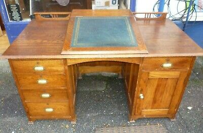 Rare And Unusual Antique Solid Oak Arts And Crafts Double Pedestal Desk