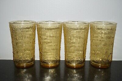 "4 Vintage Anchor Hocking ""Pagoda"" Honey Gold - 12oz Tumbler Drinking Glasses"