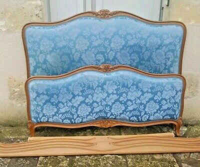 French Corbeille Bed,Louis XV Style Blue Satin Upholstered bed
