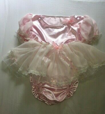Sale ALL Sizes £60 ABDL Adult Baby Sissy Short Romper Dress Pink Satin Chiffon