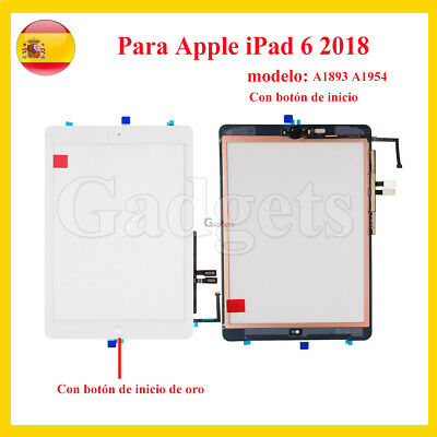 PANTALLA TACTIL PARA APPLE IPAD 6TH A1566 A1567 DIGITALIZADOR Con Botón BLANCO