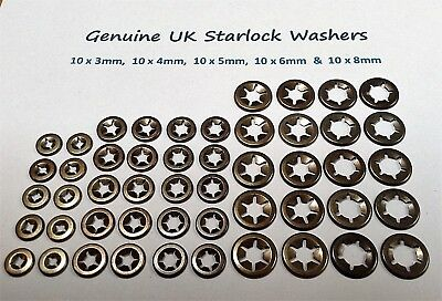 Push On Lock Star Grab Starlock Washers Fasteners Clips  10X3,4,5,6&8MM50PCE
