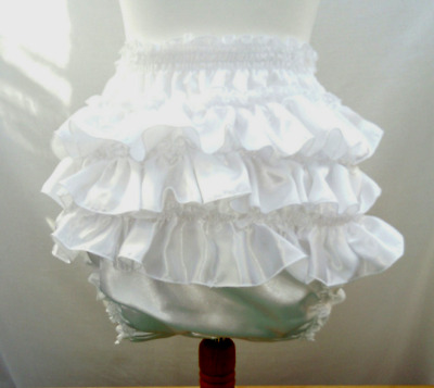All sizes £30 Adult Baby ABDL White Satin Frilly Sissy Panties Nappy Cover