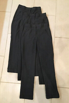 Three Pairs Girls M&S Dark Grey Uniform Trousers Age 11-12 Years VGC RRP £48