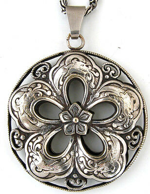 Silber Amulett Lotusblume Drache China old Pendant Lotus flower Dragon Silver