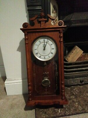 Westminster Chime, Quartz battery operated wooden pendulum wall clock for parts.