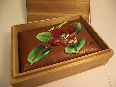Vintage Japanese cloisonne moriage enamel copper box by Ando Jubei, with wooden