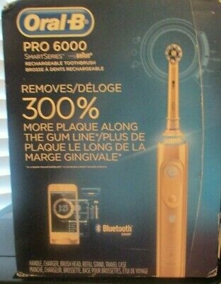 NEW Oral-B Pro 6000 SmartSeries Braun Rechargeable Bluetooth Toothbrush Open bx