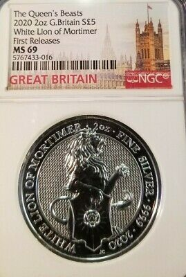 2020 Great Britain Silver 5 Pounds White Lion Of Mortimer Ngc Ms 69