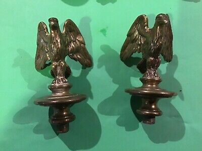 Antique Brass Griffin Eagle Clock?  Finial pair of
