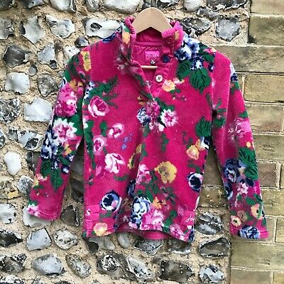 Girls Joules Fleece Pullover Jumper Age 9 10 Pink Sweater Top Floral Kids