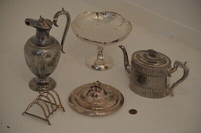 Job Lot Antique Silver Plated Items - Teapot Ewer Jug Toast Rack Serving Dishes