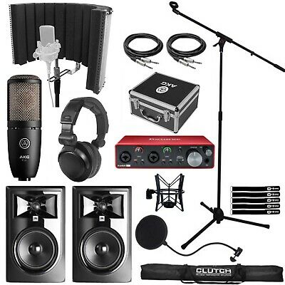 Home Recording Bundle Package JBL306P MkII Focusrite 2i2 Interface Mic Software