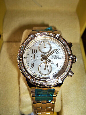 NEW Invicta 29525 Women's Angel Quartz Chronograph Crystal Accent Goldtone Watch