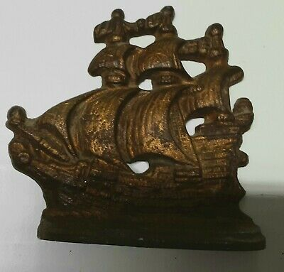 Vintage Galleon Ship Cast Iron Bookend  Doorstop #501 - Single.