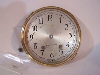 "Antique Vintage Seth Thomas Clock SOLID BRASS 5 3/4"" Bezel & Glass & Face PARTS"