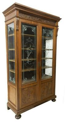 Antique Bookcase, Italian Carved Etched Glass, Walnut, 19th Century (1800s)!!