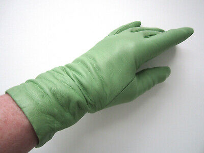 SIM SPRING GREEN LUXURIOUS LEATHER GLOVES, CASHMERE, ITALY sz 6-1/2 (fit 7) EUC