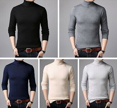 Men Sweaters Cashmere Cotton Soft Knit Wear Pull Winter Thick Warms Turtle Neck
