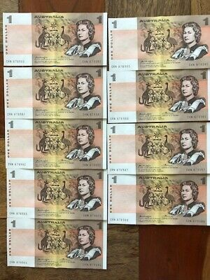 Australian $1 (one dollar) Knight Wheeler  Banknote continuous run of 9