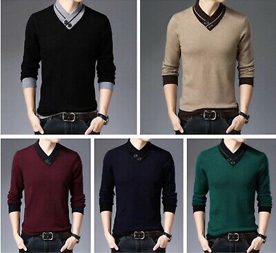 Sweater Men Autumn Winter Thick Warms Cashmere Wool Pullover Button Turtle Neck