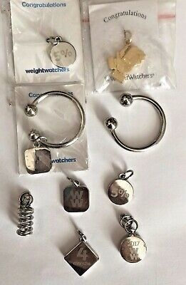 Lot of 8 Weight Watchers Charms Awards & 2 key rings -spring 5% 4mo 16wk 4 new