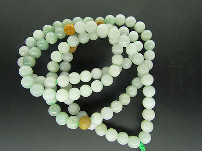 100% Chinese Hand-carved Untreated light Green A Emerald three colors necklace