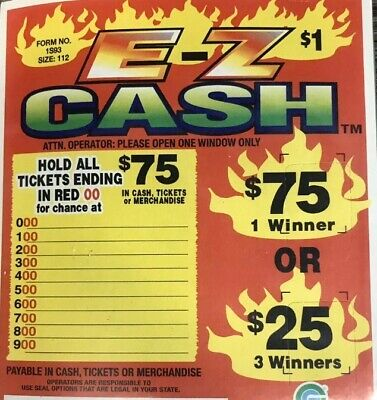 """3 Pack """"Ez Cash"""" Pull Tab Ticket $37 Profit 112 Count $75 Payout - 3 Pack"""