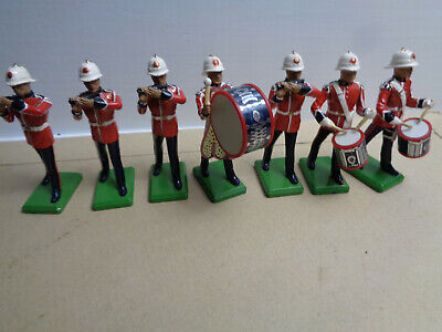 Britains Ltd., British Band drums, lot of 7 soldiers, painted, metal, AT