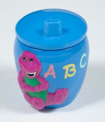 Vintage Barney The Purple Dinosaur Toddler Sippy Cup Lyons Group Blue Abc