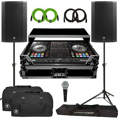 "Pioneer DDJ-SX3 Serato Pro DJ Controller w Travel Case Mackie THUMP 15"" Speakers"