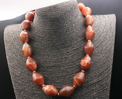 Magic Tibetan Deep Red Agate Natural Chong Olive Shaped dZi Bead Prayer Necklace
