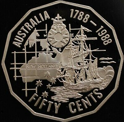 1988 Australia's Bicentenary Proof 50 Cent Coin. Ex Set. (Slightly Impaired)