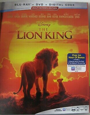 THE LION KING Blu-ray + DVD + DIGITAL CODE 2019 MULTI-SCREEN EDITION NEW, SEALED