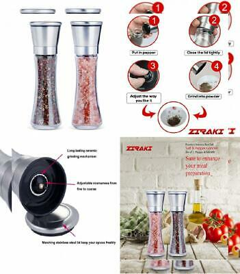 Premium Stainless Steel Salt & Pepper Grinder Set of 2 -Pepper Mill and Salt...
