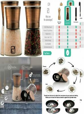 Premium Salt and Pepper Grinder Set - Best Copper Stainless Steel Mill for...