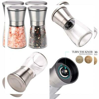 H&S Salt and Pepper Grinder Mill Set Shakers Brushed...