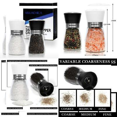 Salt and Pepper Grinder Set - Premium & Mill with B&w