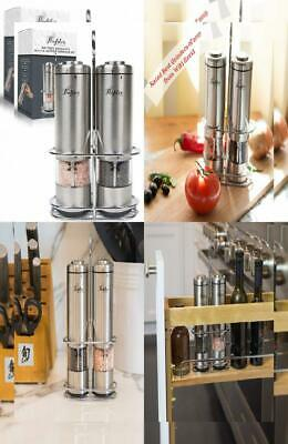Salt and Pepper Mill Set - Electric Grinders (2) by Flafster...