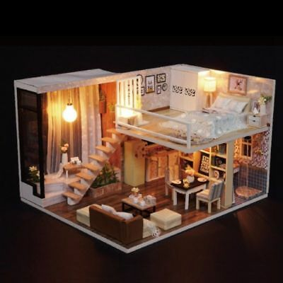 DIY Dollhouse Wooden Miniature Kit Doll House Cottage LED lights Kid's Gift US