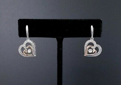 "VTG Sterling Silver Gold Diamond Chip Filigree Frame Heart Earrings, 1"" 4.66g"