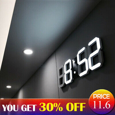 Modern Electronic Digital 3D LED Wall/Desk Clock Snooze Alarm Display Home Decor