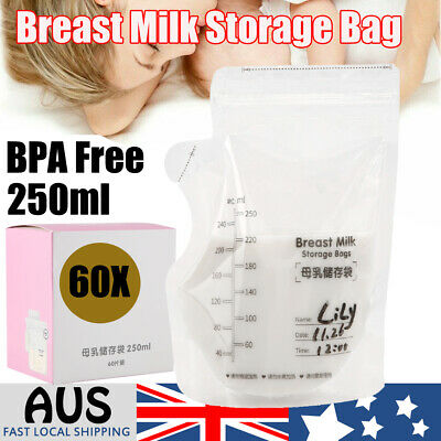 Breast Milk Storage Bag Zipper Seal Pouch Baby Food Container Leakproof 250ml