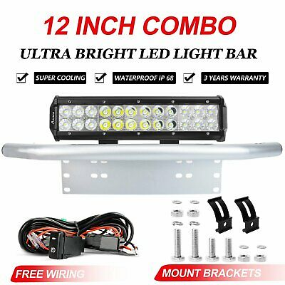 12 inch 240W Flood Spot LED Light Bar Driving + 23'' Silver Number Plate Frame