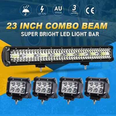 23inch Tri-row CREE Spot Flood LED Work Light Bar + 4'' Pods Offroad Driving 4WD