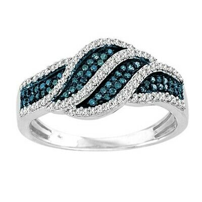 Blue Cubic Zirconia Silver Plated Womens Gemstone Ring Jewelry Size 6-10 NJ354