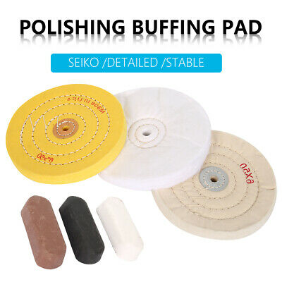 6Pcs Cotton Cleaning Polishing Buffing Wheel Kit With Compound Blocks Fits Drill