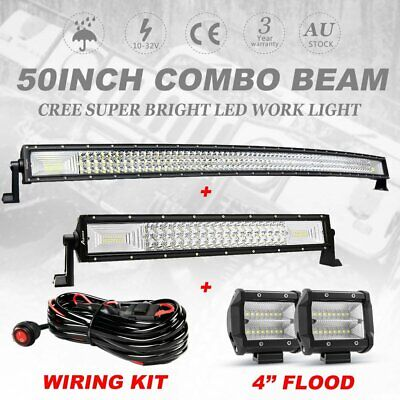 "50inch 3000W Curved CREE LED Work Light Bar + 22'' Combo + 4"" Pods Offroad 4WD"