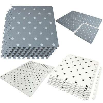 Grey & White Mat Kids Living Room Play Yoga Gym Exercise Gym Fitness Rug Carpet